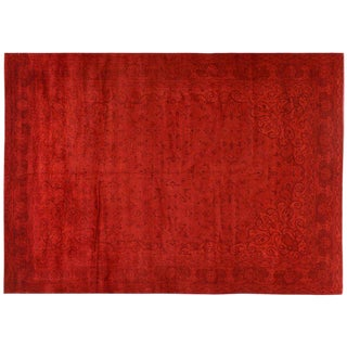 Red Silky Wool Overdyed Rug - 9′7″ × 13′9″