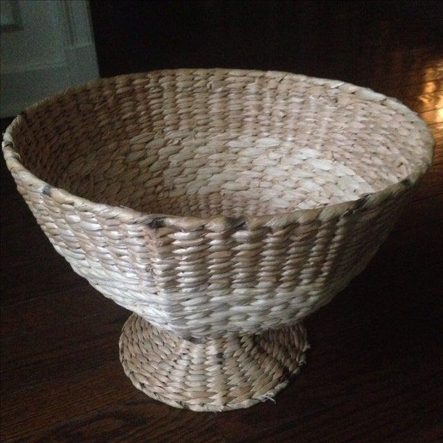 Vintage Natural Straw Pedestal Bowl - Image 11 of 11