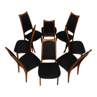 Moreddi Danish Teak Tall Back Dining Chairs w/ Black Upholstery - Set of 8