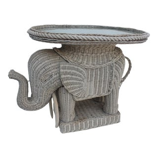 Vintage Italian Woven Rattan Elephant Side Table