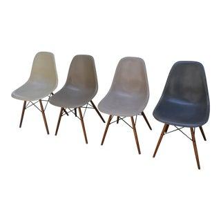 1958 Vintage Eames Molded Dowel-Leg Fiberglass Chairs - Set of 4