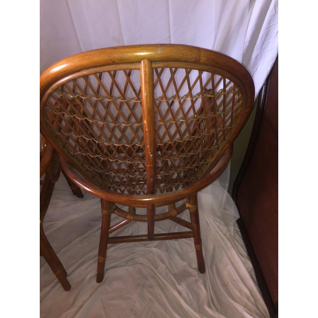 Chinoiserie Chinese Chippendale Rattan Chairs - a Pair - Image 6 of 11