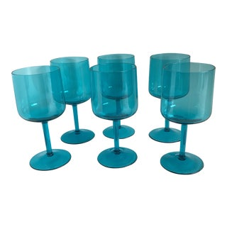 Aqua Blue Wine Glasses - Set of 6