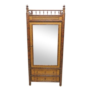 Faux Bamboo Mirrored Door Armoire