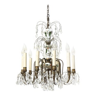 Ten Light Green and White Czechoslovakian Overlay with Crystal Chandelier