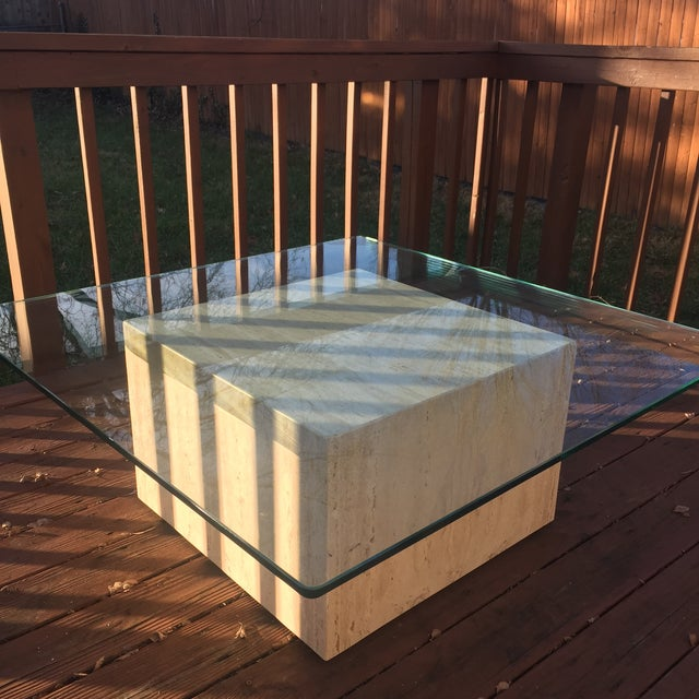 Image of Modern Cube Travertine & Glass Coffee Table