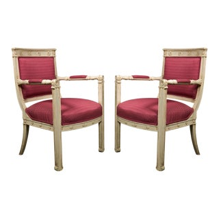 French Empire Style Painted Armchairs - A Pair