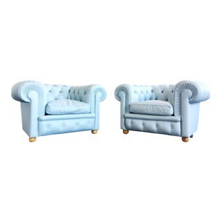Renzo Frau for Poltrona Frau Opaline Chesterfield Armchairs - A Pair