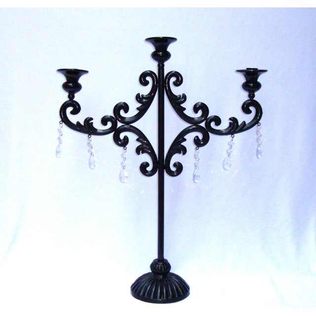 Large Gothic Deco Black Metal Crystal Candelabra - Image 6 of 11