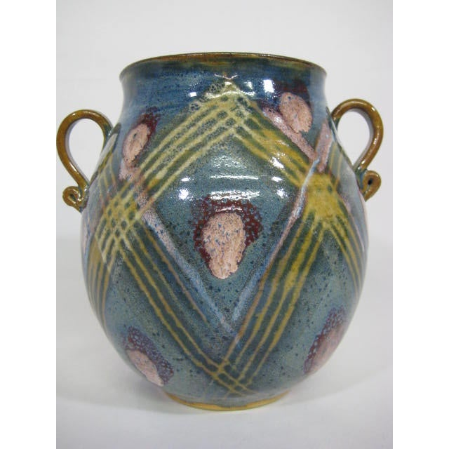 Blue Double Handle Art Pottery Vase - Image 2 of 8