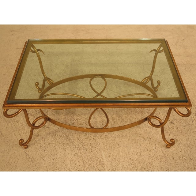 Glass Top Coffee Table With Iron Base: Glass Top & Gold Iron Base Coffee Table