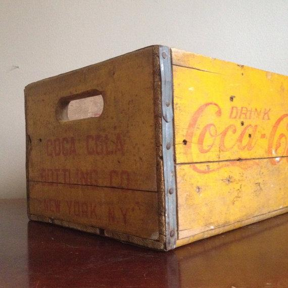 Vintage Yellow Wooden Coca Cola Crate - Image 3 of 6