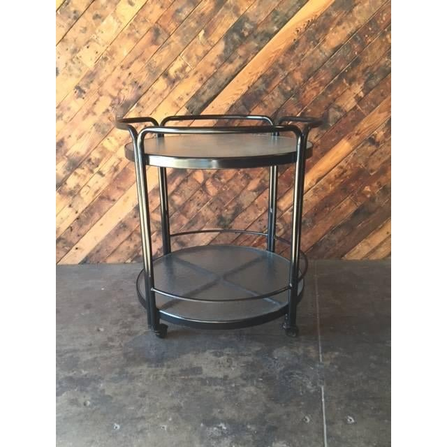 Rolling Outdoor Metal Glass Bar Cart - Image 6 of 6