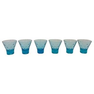 Blue Mid-Century Liqueur Glasses - Set of 6