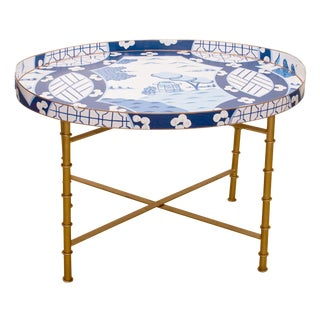 Dana Gibson Blue Canton Tray Table