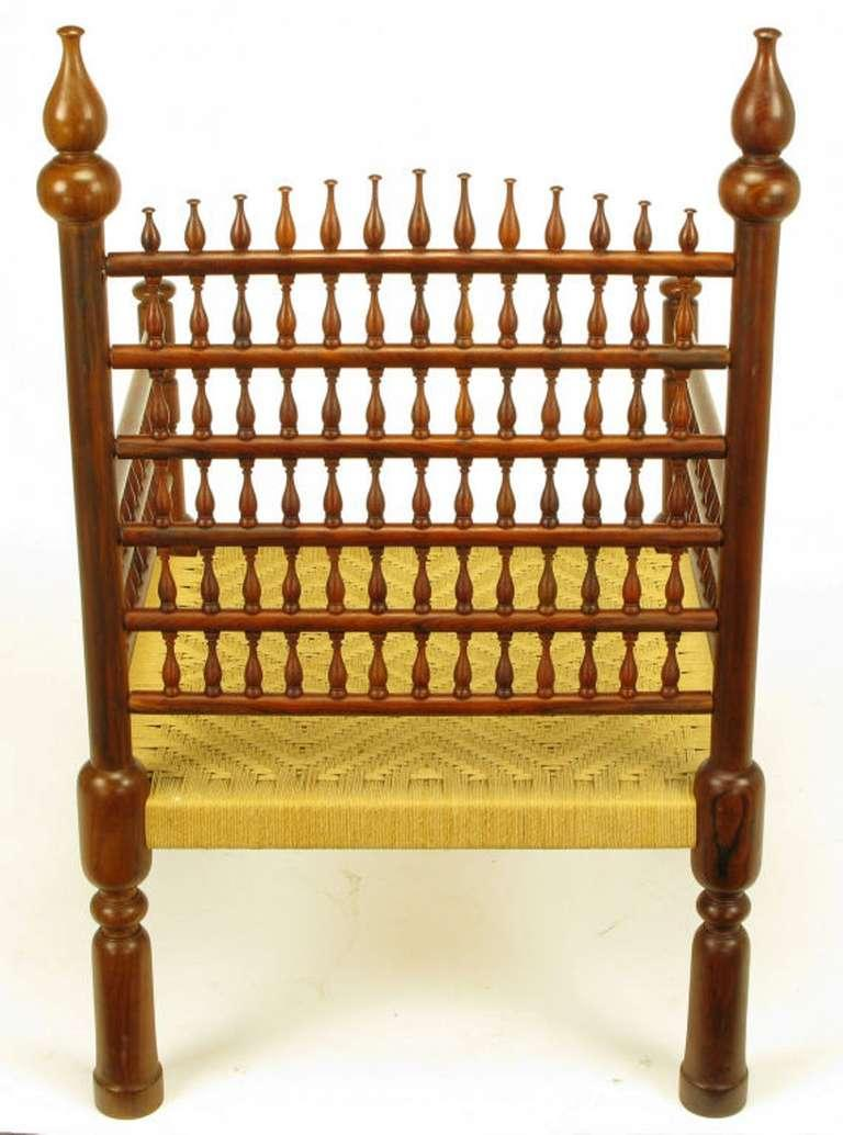 Exceptional Pair Grand Moroccan Inspired Teak Open Fretwork Rush