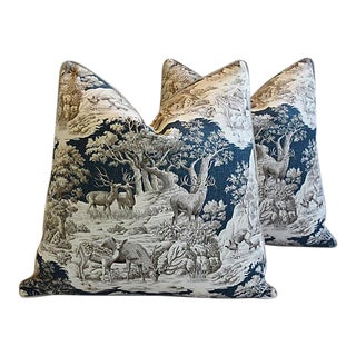 "25"" Custom Tailored Woodland Toile Deer & Velvet Feather/Down Pillows - Pair"