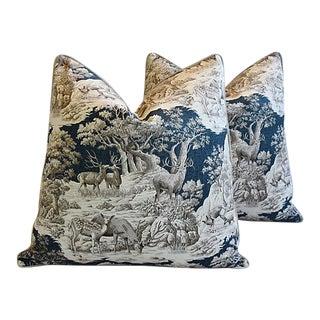"25"" Custom Tailored Woodland Toile Deer & Velvet Feather/Down Pillows - Pair"