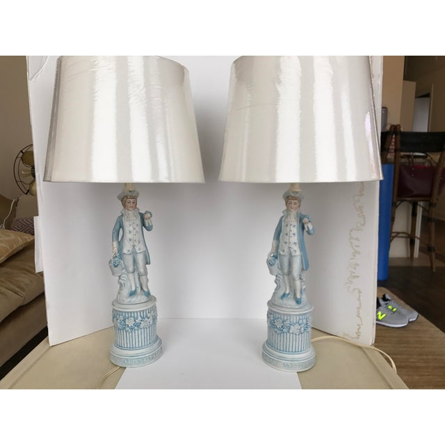Image of Ceramic Colonial Men Lamps by Duray - a Pair
