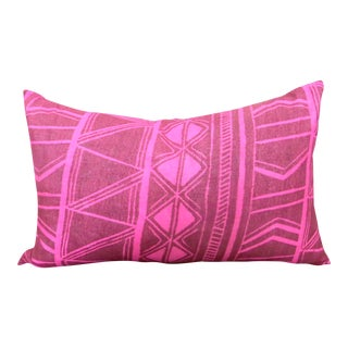 1950s Pink Tahitian Geometric Lumbar Pillow