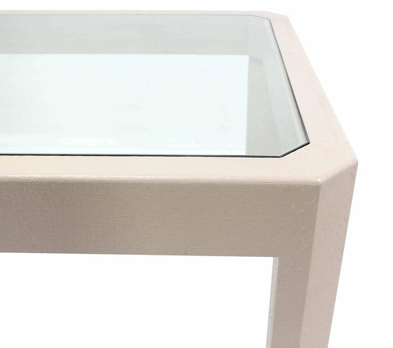 Fine Lacquered Cloth Frame Glass Top rectangular Dining Table Off