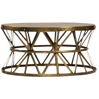 Modern Hammered Brass Coffee Table