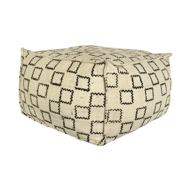 Image of Block Printed Mud Cloth Ivory Pouf