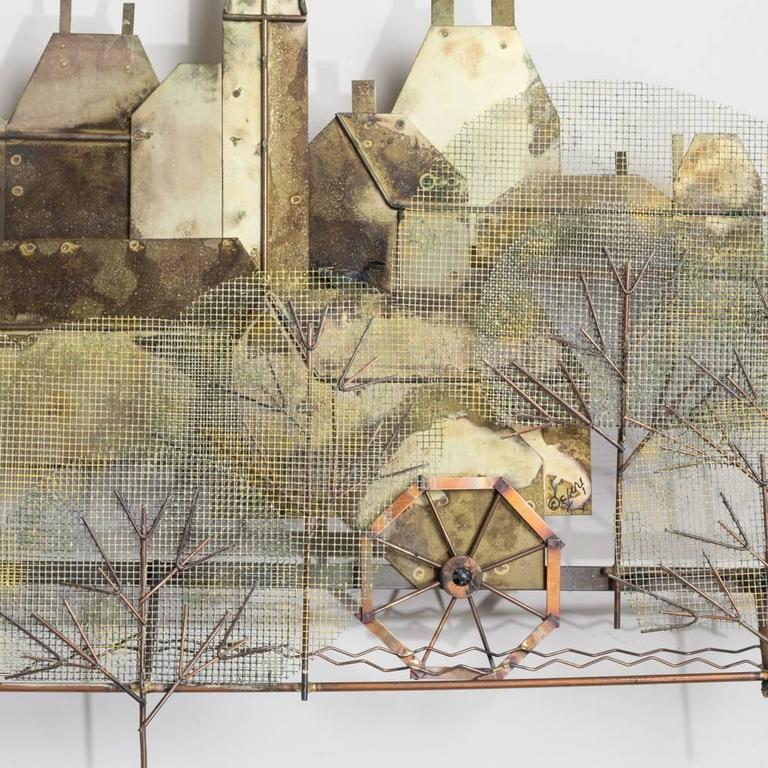 a curtis jere metal wall sculpture of a town scene signed image 6 of - Metal Wall Sculpture