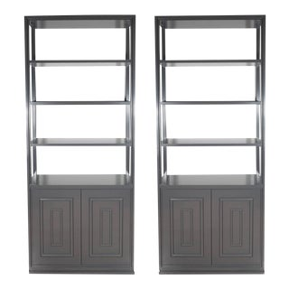 Pair of Custom Bookshelves/Étagères with Cabinets in Lustrous Slate Grey Lacquer