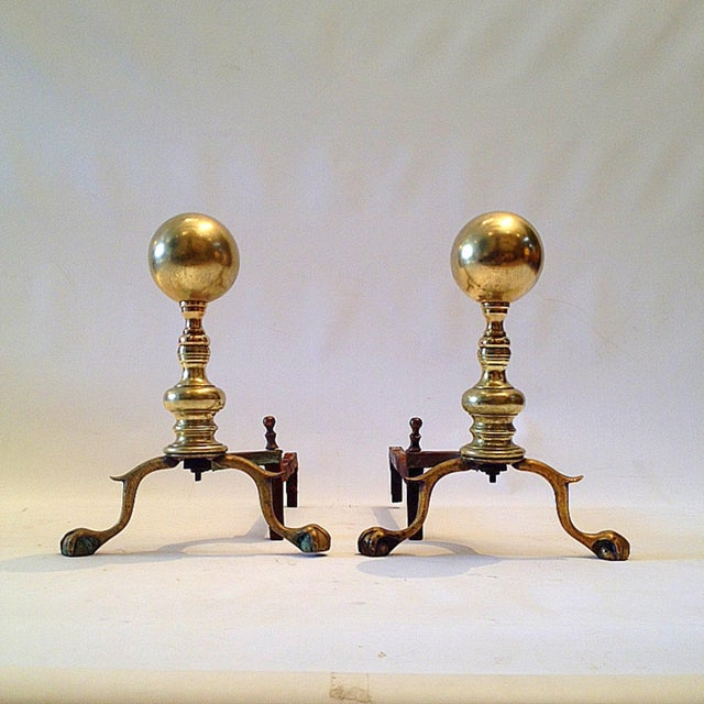 Image of Brass Andiorns With Claw Feet
