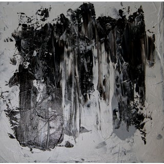 Abstract Silver Black Gray Painting C. Plowden