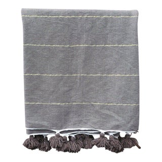 Gray Moroccan Pom Throw