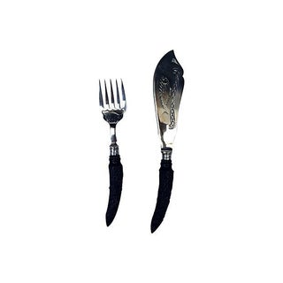 Victorian English Antler Handle Fish Serving Set - Set of 2