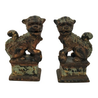Vintage Foo Dogs with Verdigris Finish