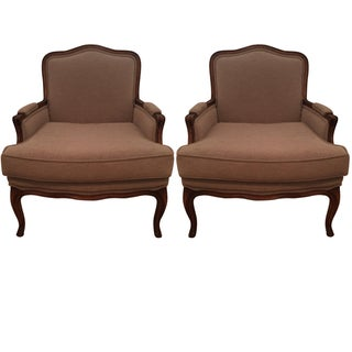 Upholstered Bergere Chairs - Pair