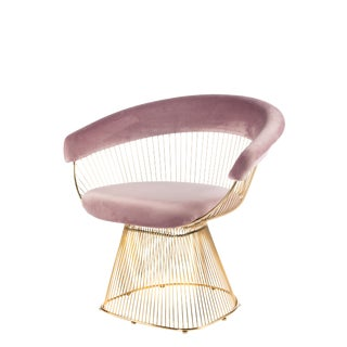 Mid-Century Modern Soleil Gold & Pink Accent Chair