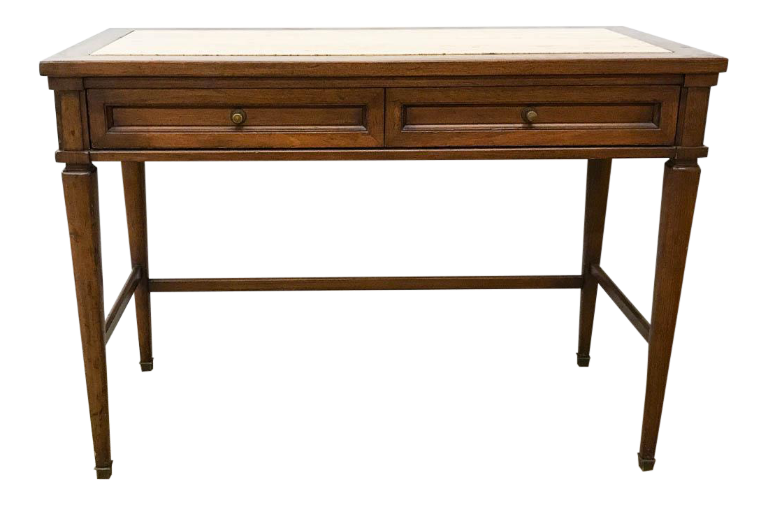 Mid Century Marble Top Console Table, Desk   Signed White Furniture   Image  1 Of