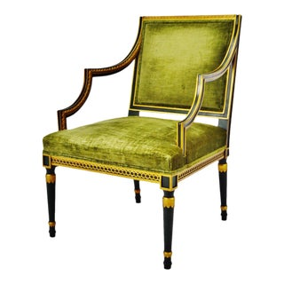 Vintage Kindel Furniture Company Upholstered Green and Gold Gilt Arm Chair