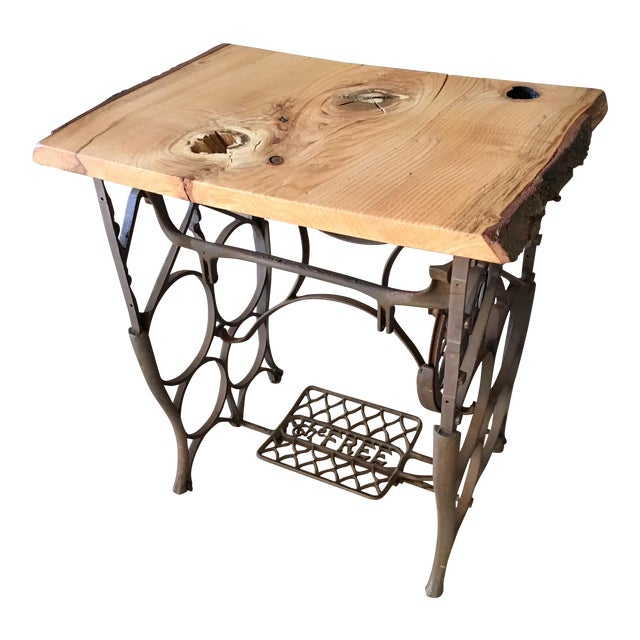Image of Live Edge Console with Sewing Machine Base