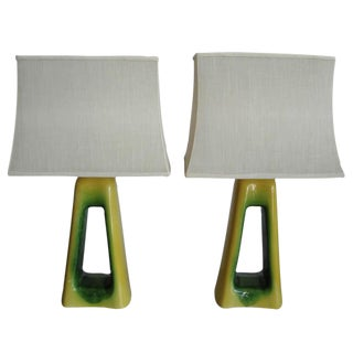 Over the Top Oversized Mid-Century Ceramic Lamps