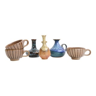 Mid-Century Modern Handmade Studio Pottery Vases - Set of 5