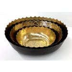 Image of Hammered Iron Bowl With Gilt Gold - Set of 3