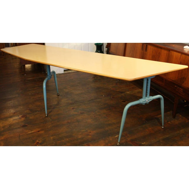 1950s French Laminated Plywood and Steel Adjustable Table - Image 2 of 10