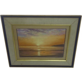 """Ocean at Sunset"", Pastel Painting by Frank Rupp"