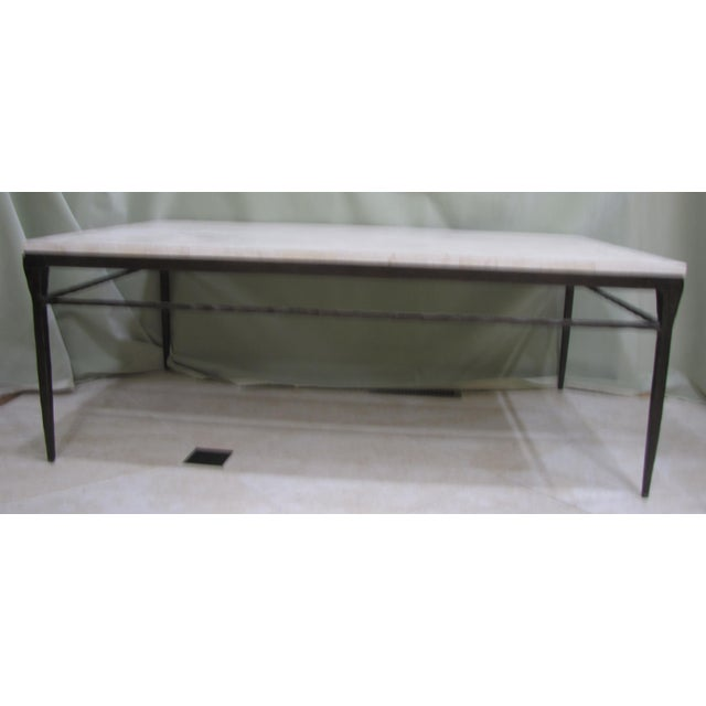 Bernhardt wrought iron natural stone coffee table chairish Bernhardt coffee tables