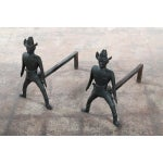 Image of Cast Iron Fireplace Quickdraw Cowboy Andirons-Pair