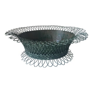 Antique French Wire Basket With Tole Insert