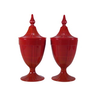 1920s Red Art Glass Covered Candy Containers