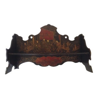 Asian Lacquered Folding Wall Shelf