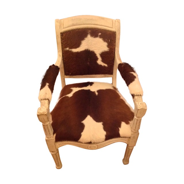 Antique Cowhide Chair with Nailhead Accents - Image 1 of 6